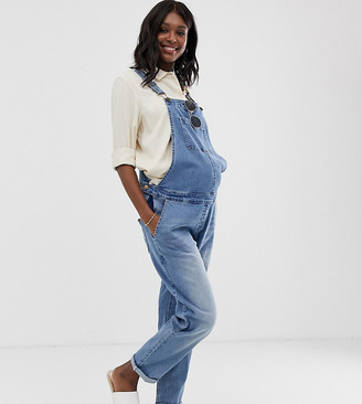 Bandia Maternity relaxed fit dungarees-Blue