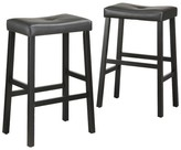 "Homelegance Hahn Saddle Seats 29"""" Barstools Hardwood/Black (Set of 2)"
