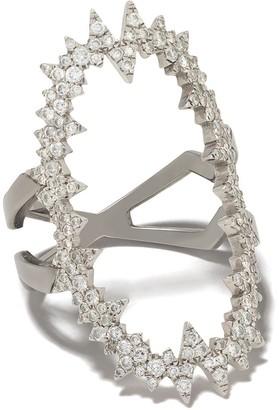 Diane Kordas 18kt white gold Atomic diamond ring