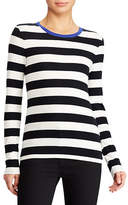 Lauren Ralph Lauren Contrast Collar Striped Tee