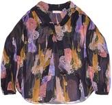 Greta Gloomy Flower Print Sheer Blouse