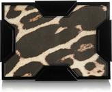 Lee Savage Space leopard-print leather box clutch