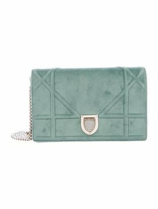 Christian Dior 2019 Velvet Diorama Wallet on Chain Green