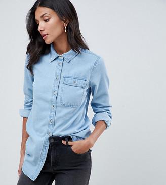 Asos Tall DESIGN Tall denim shirt with pocket in midwash blue