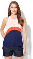 New York & Co. Colorblock Draped Halter Blouse