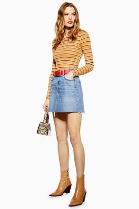Topshop Womens Mid Blue Denim Mini Skirt - Mid Stone