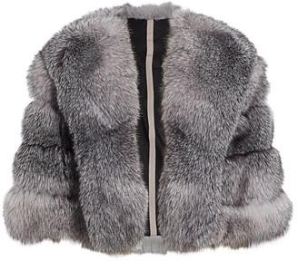 The Fur Salon Fox Fur Leather Insert Cape