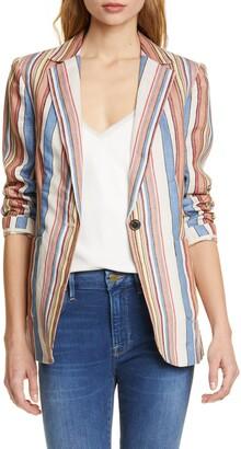 Frame Stripe Linen Blazer