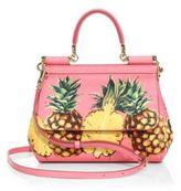 Dolce & Gabbana Sicily Tropical-Print Saffiano Leather Top Handle Satchel