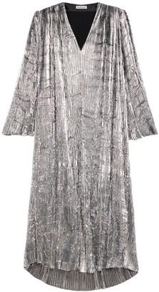 Balenciaga V-Neck Pleated Maxi Dress