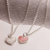 Molly Brown London Elodie Pink Or White Enamel Heart Necklace