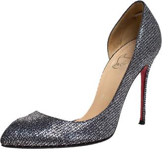 Christian Louboutin Metallic Silver Glitter Lame Fabric Iriza D'orsay Pumps Size 37