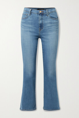 J BRAND - Franky Cropped High-rise Bootcut Jeans - Blue