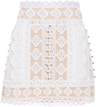 Zimmermann Moncur Embellished Broderie Anglaise Cotton, Canvas And Silk Crepe De Chine Mini Skirt