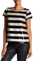 Vince Camuto Sequin Stripe Boxy Tee