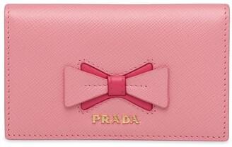 Prada Saffiano leather card holder with bow
