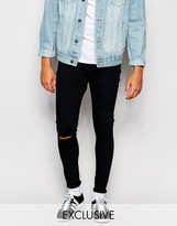 Cheap Monday Black Spray Knee Rip Jeans In Extreme Super Skinny