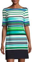 Eliza J Half-Sleeve Striped Shift Dress, Green/Blue
