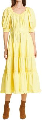 Ulla Johnson Puff Sleeve Ruffle Midi Dress