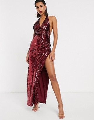 Asos Edition EDITION plunge halter maxi dress in sequin-Red