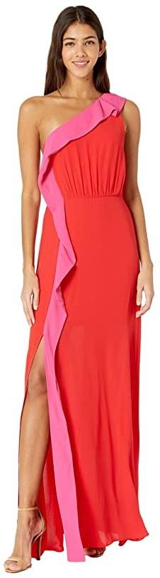 BCBG Max Azria Womens Pink Formal Maxi V-Neck Evening Dress Gown 2 BHFO 1373