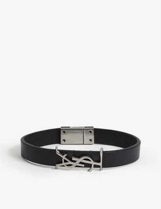 Saint Laurent Logo-plaque leather bracelet