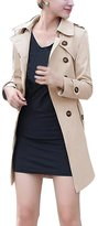 Zicac Women's Double-Breasted Trench Coat With Belt (0-2, )