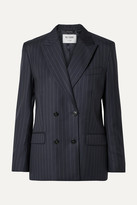 RE/DONE 70s Double-breasted Pinstriped Wool Blazer - Navy