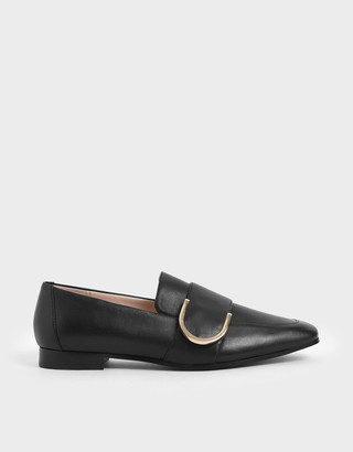 Charles & Keith Leather Metal Accent Loafers