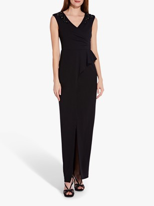 Adrianna Papell Bead and Flower Embellishment Draped Maxi Dress, Black