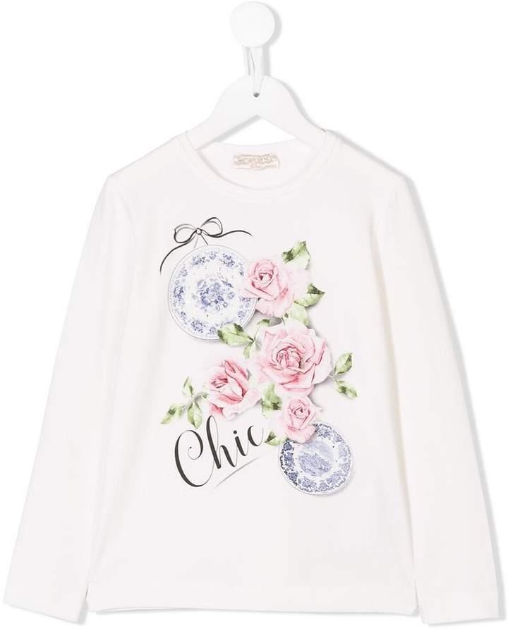 MonnaLisa rose print long sleeve T-shirt