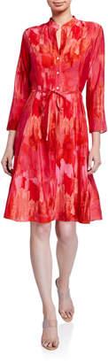 Natori Washed Stripe Print 3/4-Sleeve Shirtdress