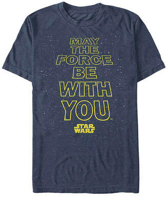 Fifth Sun May The Force Be With You Mens Crew Neck Short Sleeve Star Wars Graphic T-Shirt
