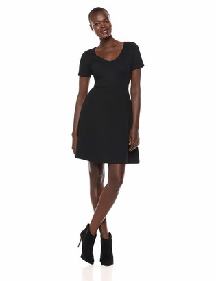 Lark & Ro Women's Short Sleeve Textured Bateau Fit and Flare Dress