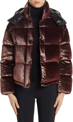 Moncler Caille Glitter Velvet Quilted Down Puffer Coat