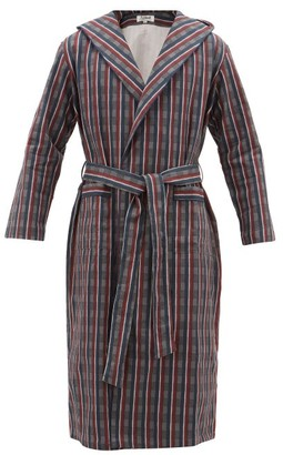 P. Le Moult - Hooded Checked-cotton Robe - Mens - Burgundy Multi