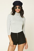 Forever 21 FOREVER 21+ Heathered Mock Neck Top