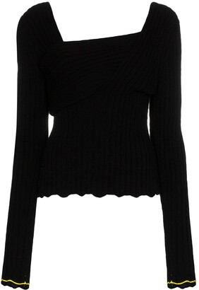 Bottega Veneta asymmetric V-neck knit top