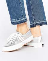 Superga 2750 Mesh Metallic Flatform Trainers In Silver