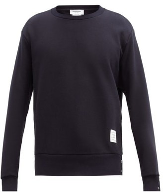 Thom Browne Tricolor-jacquard Cotton-jersey Sweatshirt - Mens - Navy
