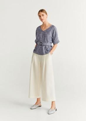 MANGO Belt striped blouse off white - 2 - Women