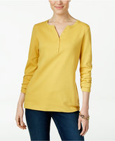 Karen Scott Long-Sleeve Henley Top, Only at Macy's