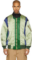 Facetasm Green Colorblock Bomber Jacket