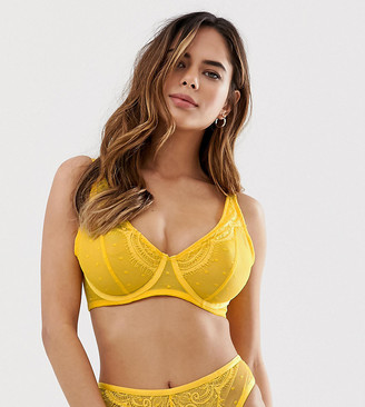 Wolfwhistle Wolf & Whistle Fuller Bust lace spot mesh frill strap bra in yellow