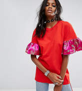 Reclaimed Vintage Inspired Oversized T-Shirt With Brocade Ruffle Sleeves