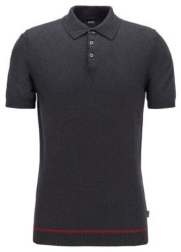 HUGO BOSS Slim-fit short-sleeved sweater in pure cotton