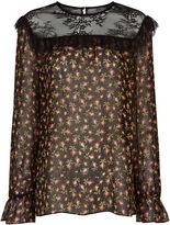 Philosophy Di Lorenzo Serafini Black Silk Floral Ruffle Blouse