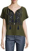 Tory Burch Camille Short-Sleeve Embroidered Top, Dark Olive Green