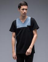 Facetasm Denim Patch V-Neck Pocket S/S T-Shirt