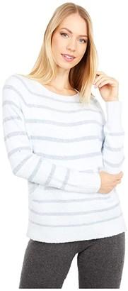 Barefoot Dreams Cozychic Lite Striped Raglan Pullover (Blue Multi) Women's Clothing